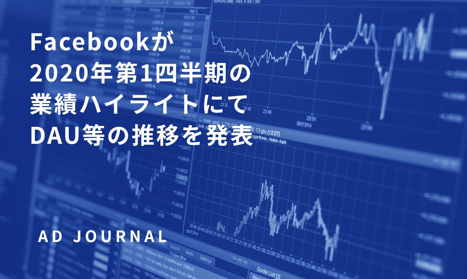 Facebookが2020年第1四半期の業績ハイライトにてDAU等の推移を発表