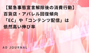 【緊急事態宣言解除後の消費行動】百貨店・アパレル回復傾向 「EC」や「コンテンツ配信」は依然高い伸び率